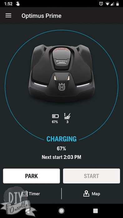 Mower showing on app that it's charging and 67%