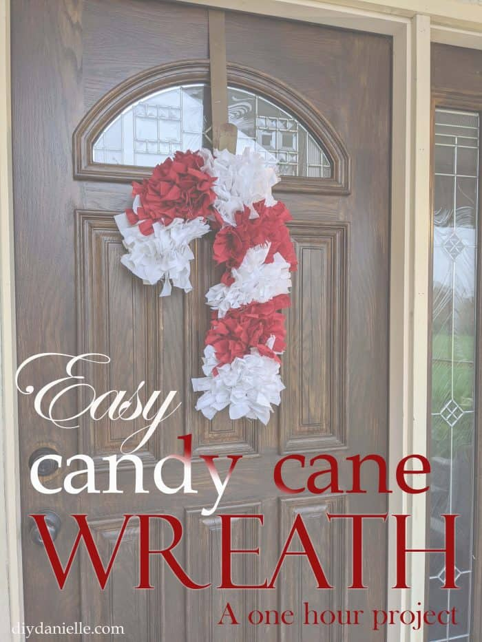 How to make an easy candy cane wreath in under one hour. Love how simple these fabric wreaths are to make!