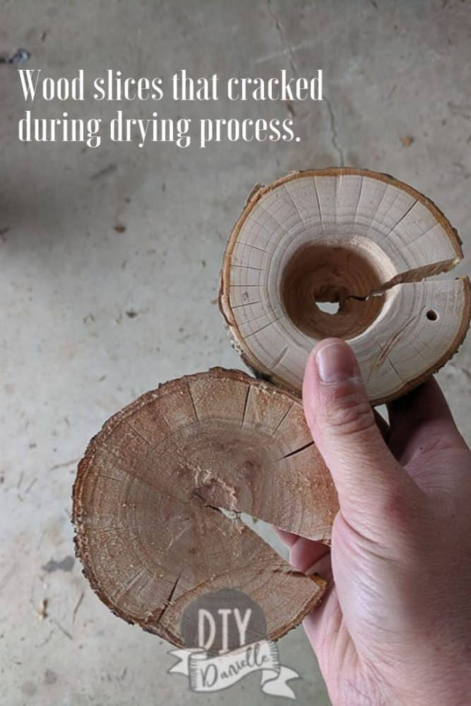 These wood slices cracked during the drying process. This is peach tree wood and fruit trees, in particular, will crack easily.