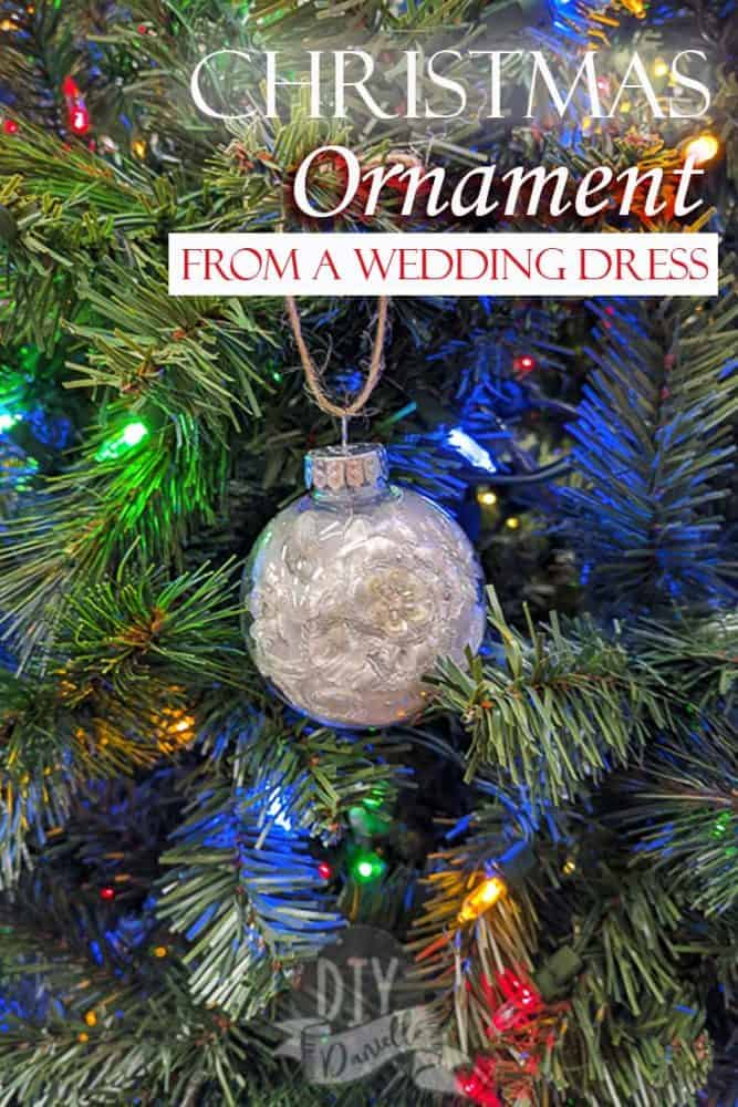 Easy to make Christmas ornaments from an upcycled wedding dress.