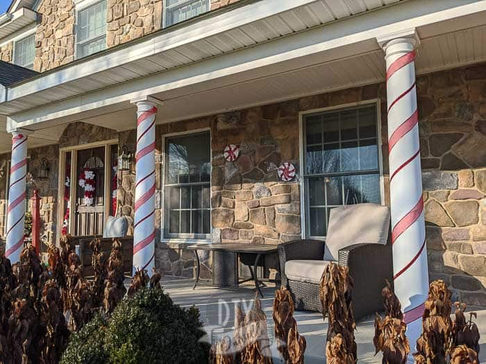 Candy themed front porch for Christmas decor.