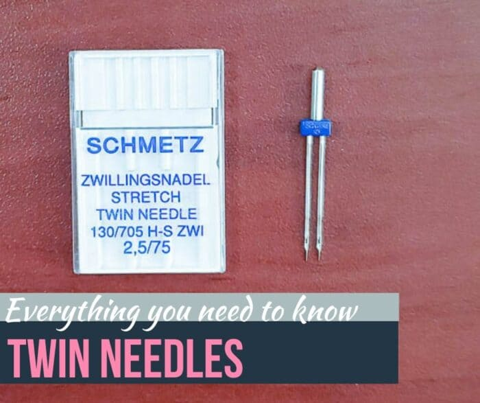 Everything you need to know: Twin Needles.   Photo of Schmetz stretch twin needle clear container and a twin needle next to it out of the case.