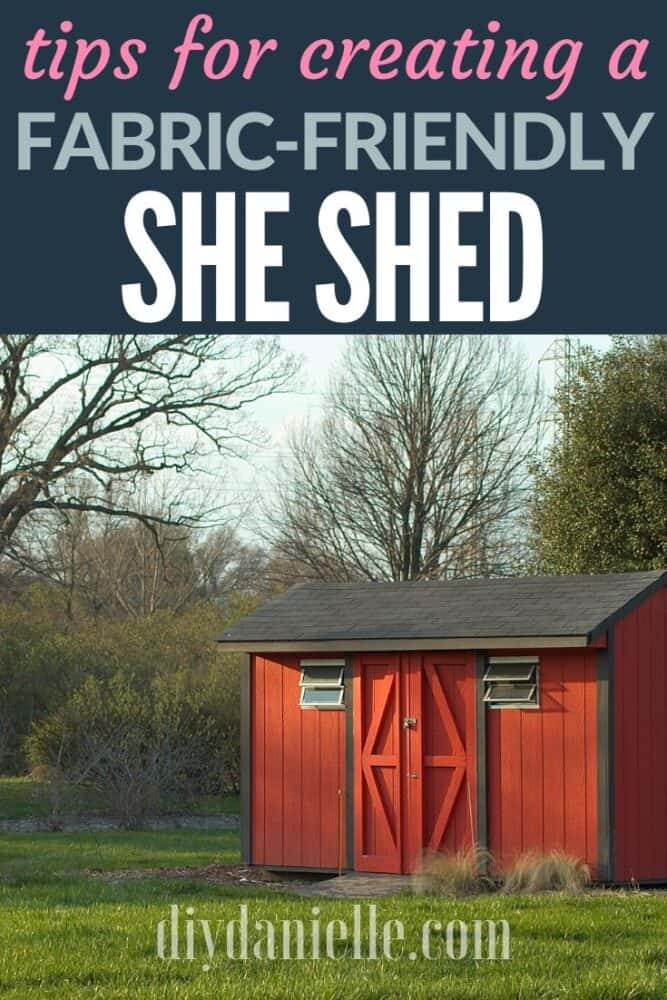 Tips for creating a fabric-friendly she shed for you to sew in! Pictured: Red shed with two small windows.