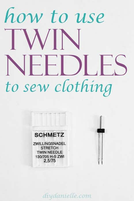 How to use twin needles to sew knits (and clothing). Photo: B&W image of a Schmetz stretch twin needle.