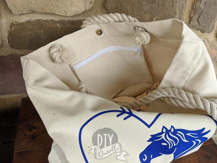 Inner zipper pocket for a tote bag.