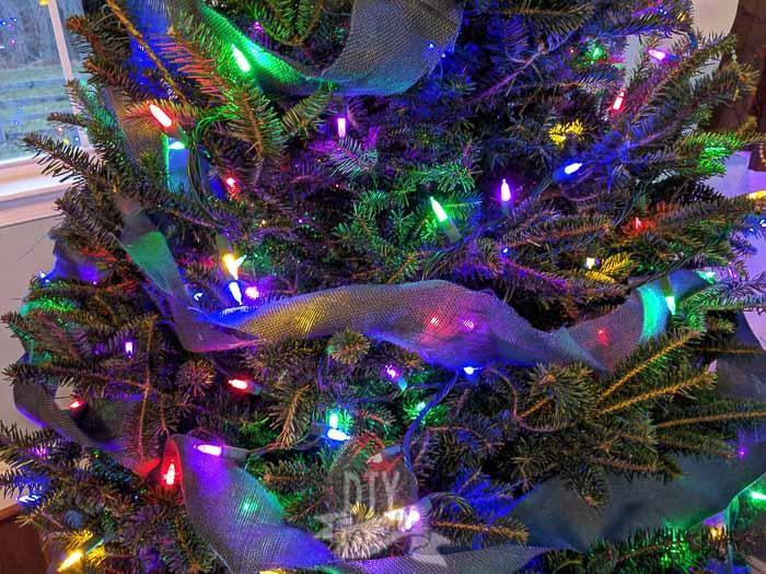Burlap ribbon, blue, on Christmas tree.