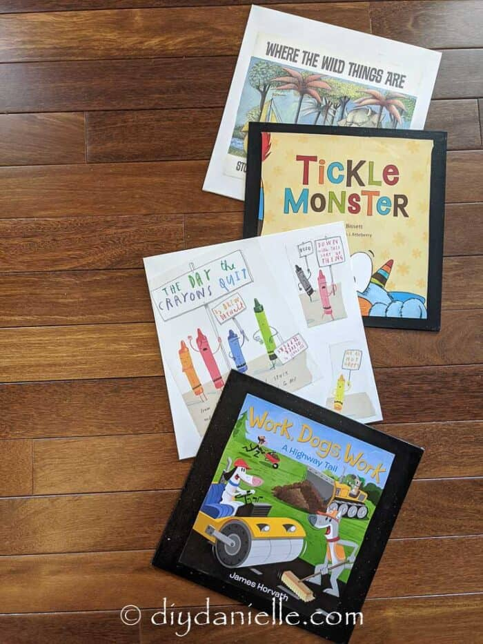 Dust jacket DIY project with children's books.
