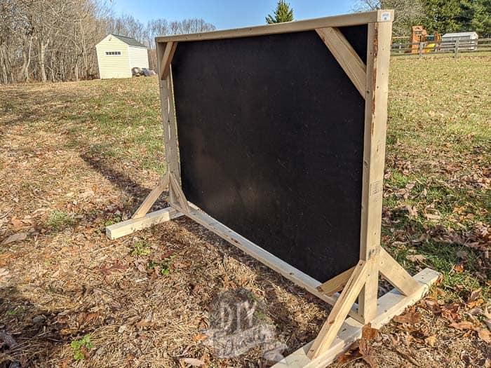 DIY archery backstop- photo of the back.