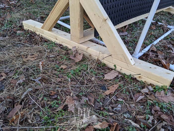 Bottom legs of the backstop for archery.
