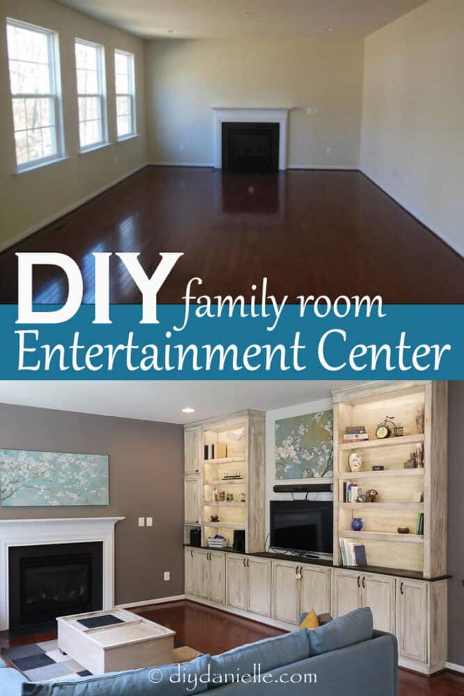 DIY Entertainment Center and Bookshelves with under cabinet lighting. These are HUGE with lots of storage space.