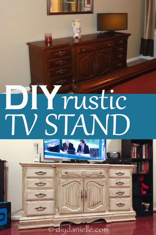 DIY rustic TV stand: before and after pictures of the distressed wood bureau.