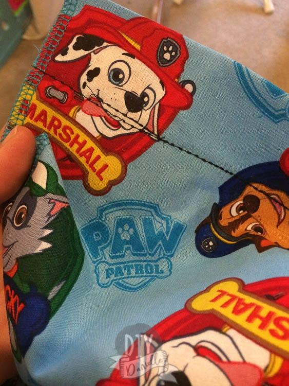 Rod pockets sewn on the Paw Patrol fabric.