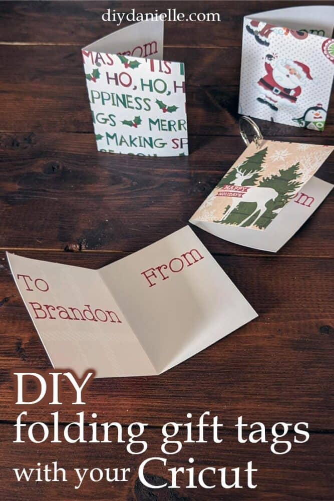 DIY folding gift tags to add to your presents this year. Perfect for Christmas, or use other scrapbook paper for birthdays and other holidays!