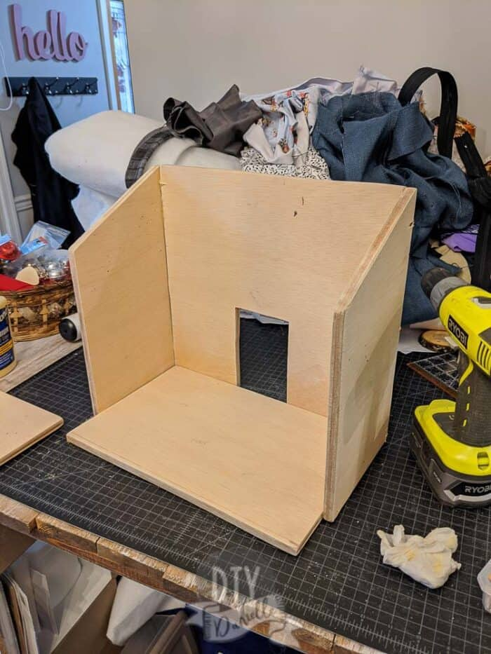 Sides and back attached to the base for the barn.