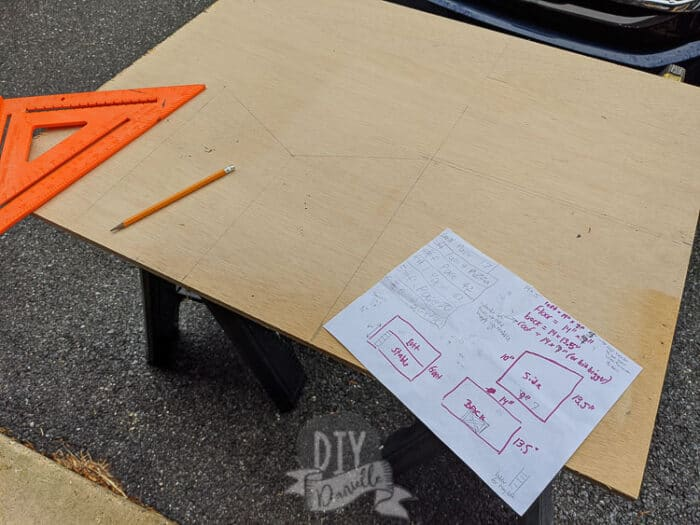 """Drawing out my wood cuts on the 1/2"""" plywood scrap"""