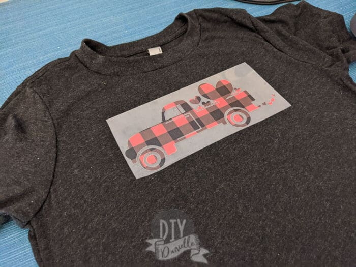 buffalo plaid truck with hearts on it.