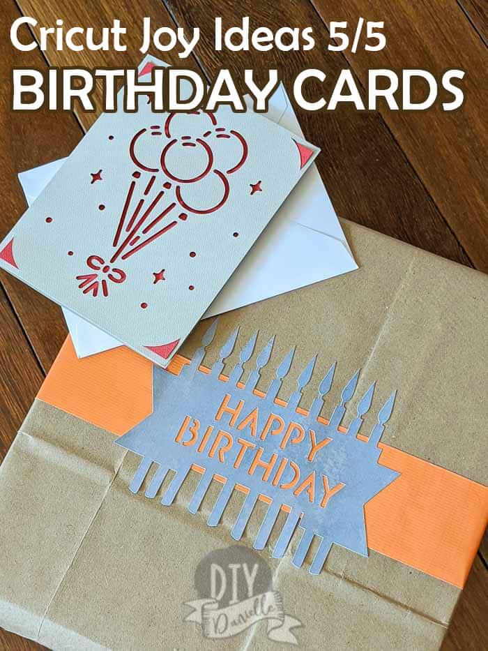 Cricut Joy Ideas 5/5: Birthday card and birthday wrapping label made with Cricut Joy