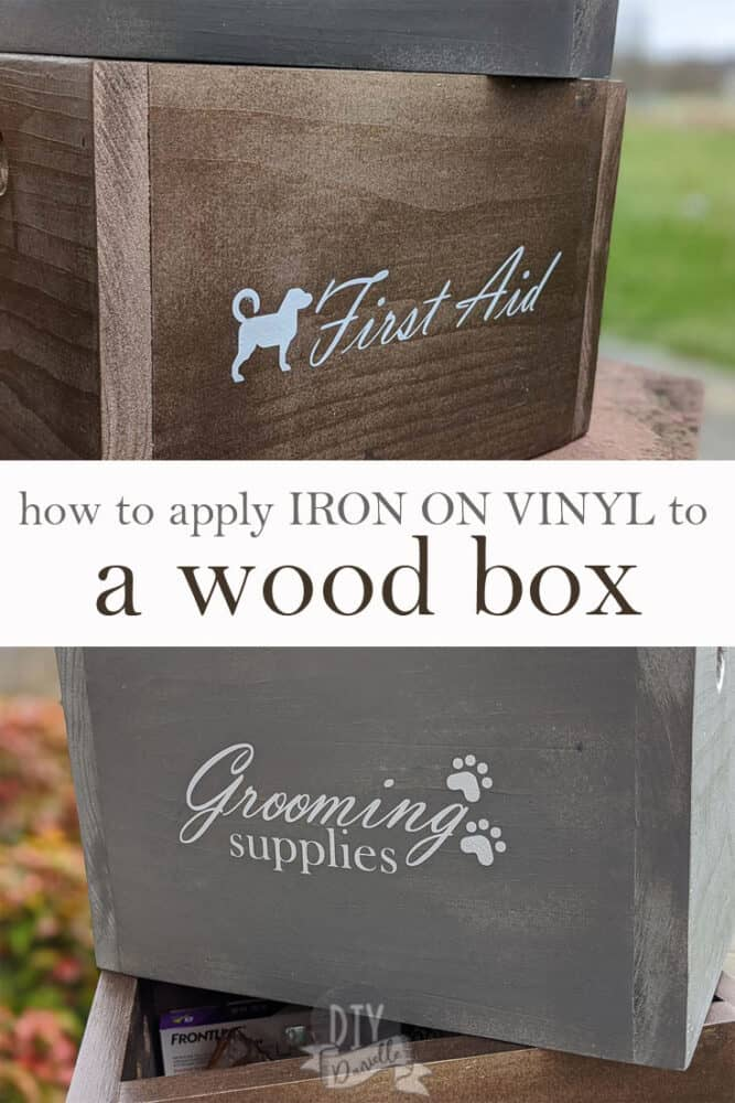 How to apply iron on vinyl or HTV to a wood box! This is SUPER easy!