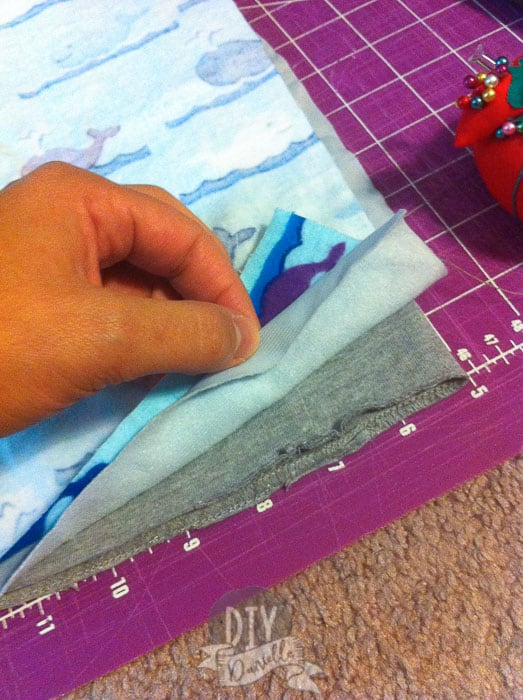 Layers of fabric before sewing them together.