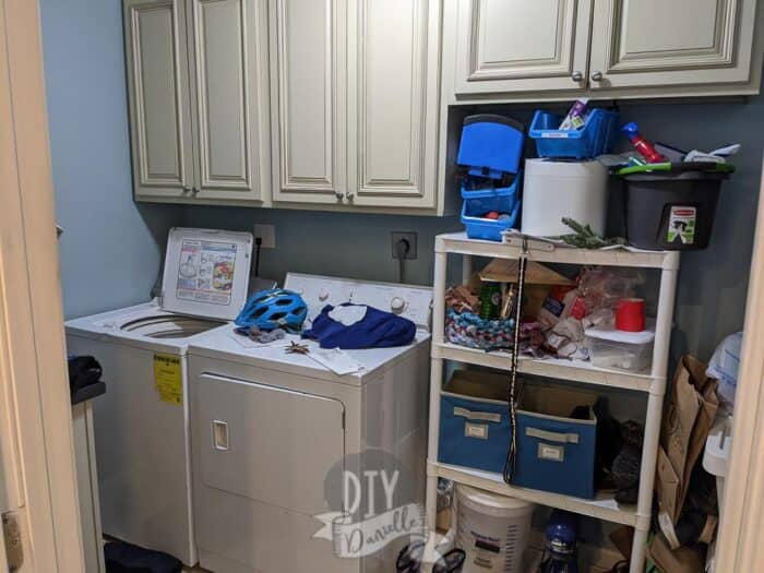 Mudroom pictures before. Messy room with no place to store anything neatly.