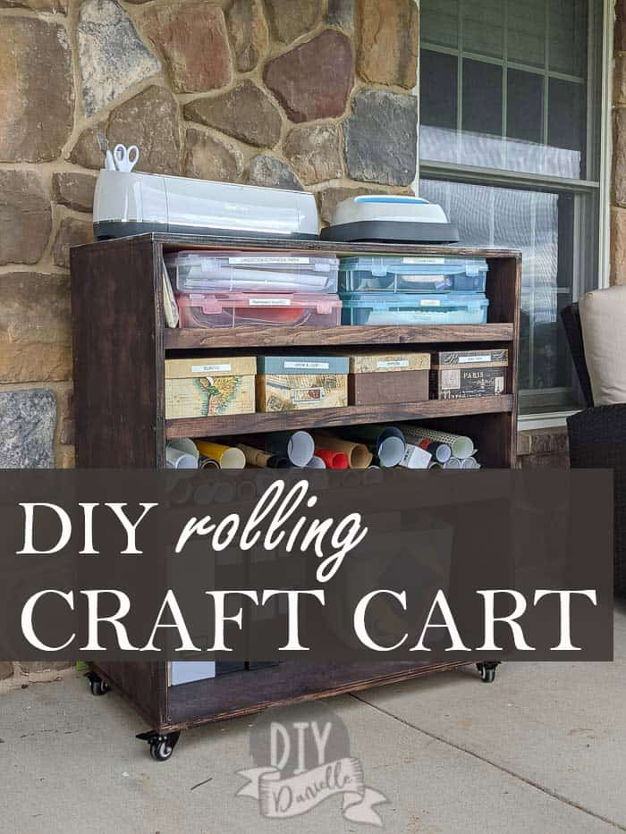 DIY Rolling Craft Cart with Cricut and EasyPress on top pin image