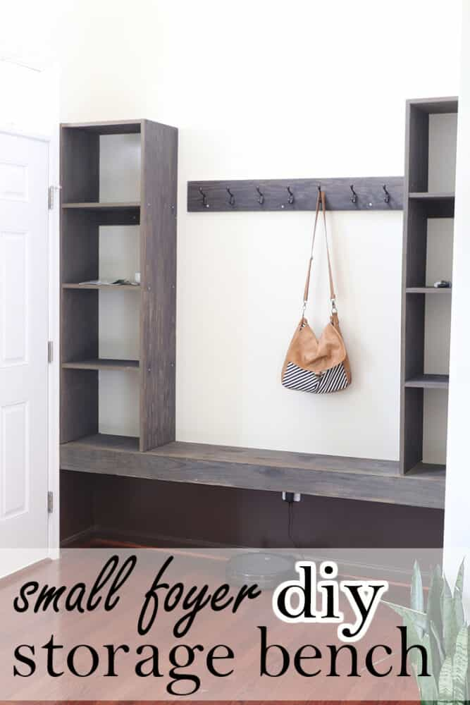 Small foyer DIY storage bench.