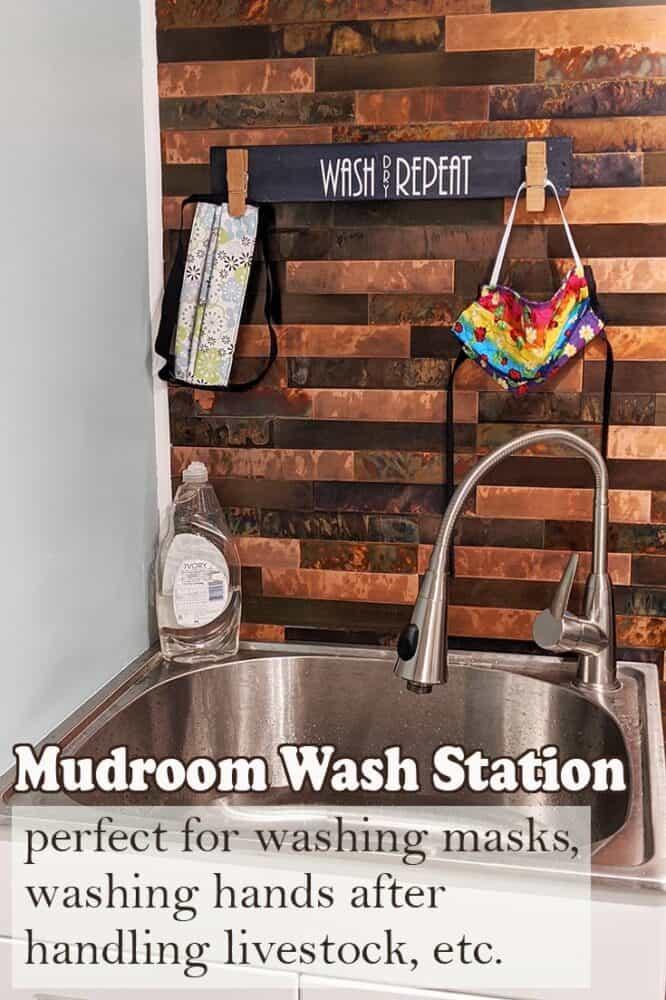 Mudroom wash station setup to wash hands, handwash masks and other dirty clothing, etc.