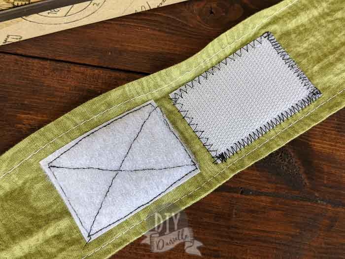 Straight stitch vs. zig zag stitch comparison for sewing on hook and loop