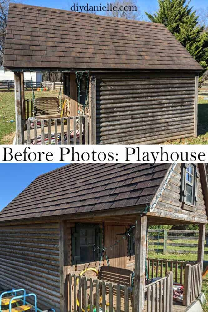Before photos of the playhouse before the wood was cleaned up.