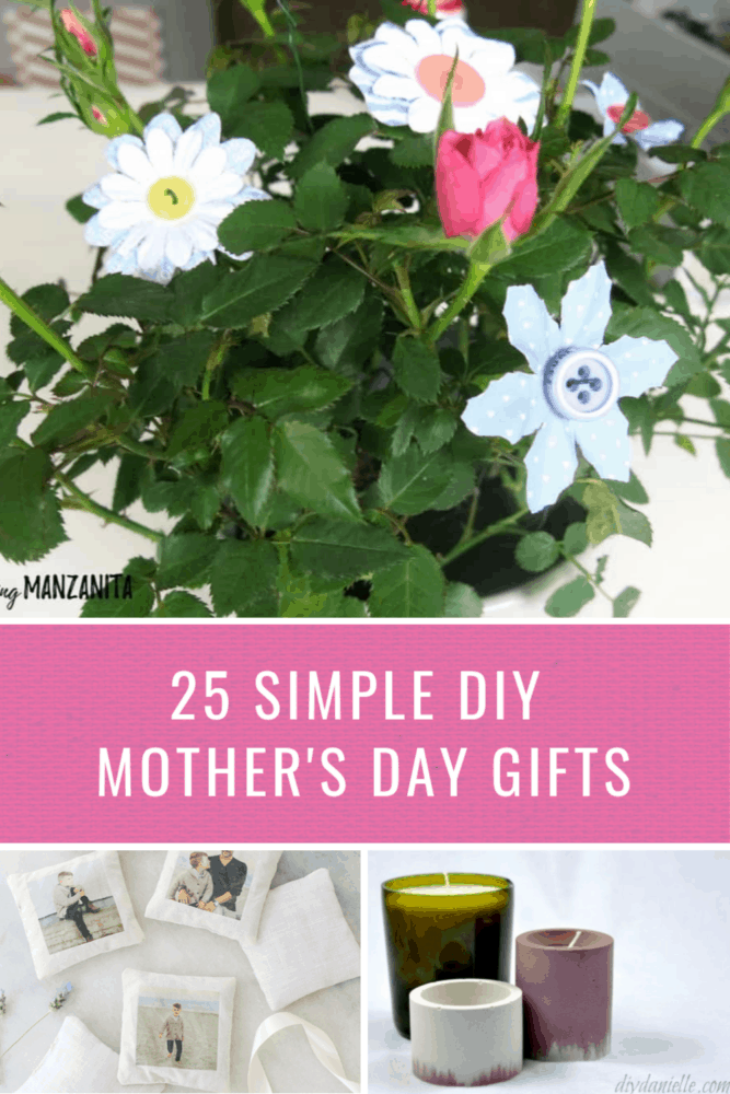 Collage of three mother's day gifts diy