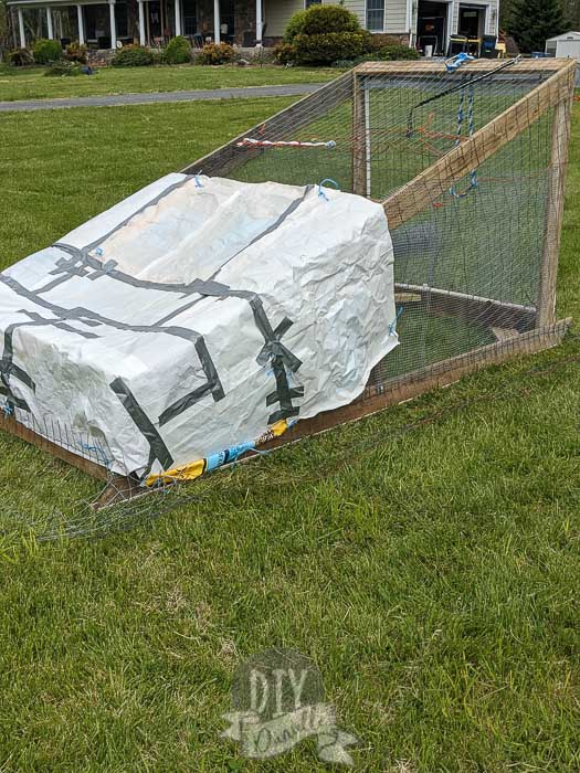 """""""Tarps"""" created with feed bags to cover the chicken tractor."""