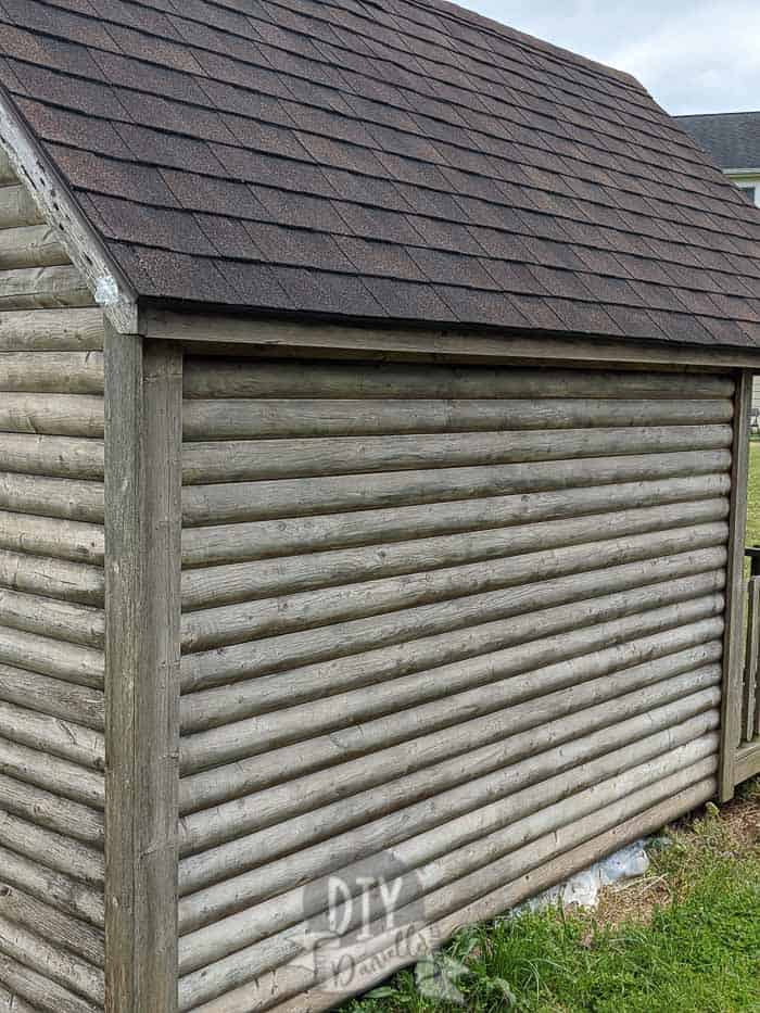 """Washed"" wood of the log cabin playhouse."