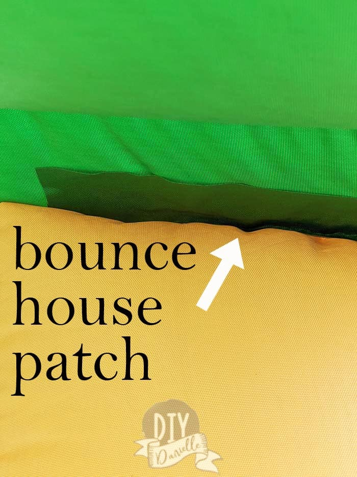 Patch on inflatable bounce house.