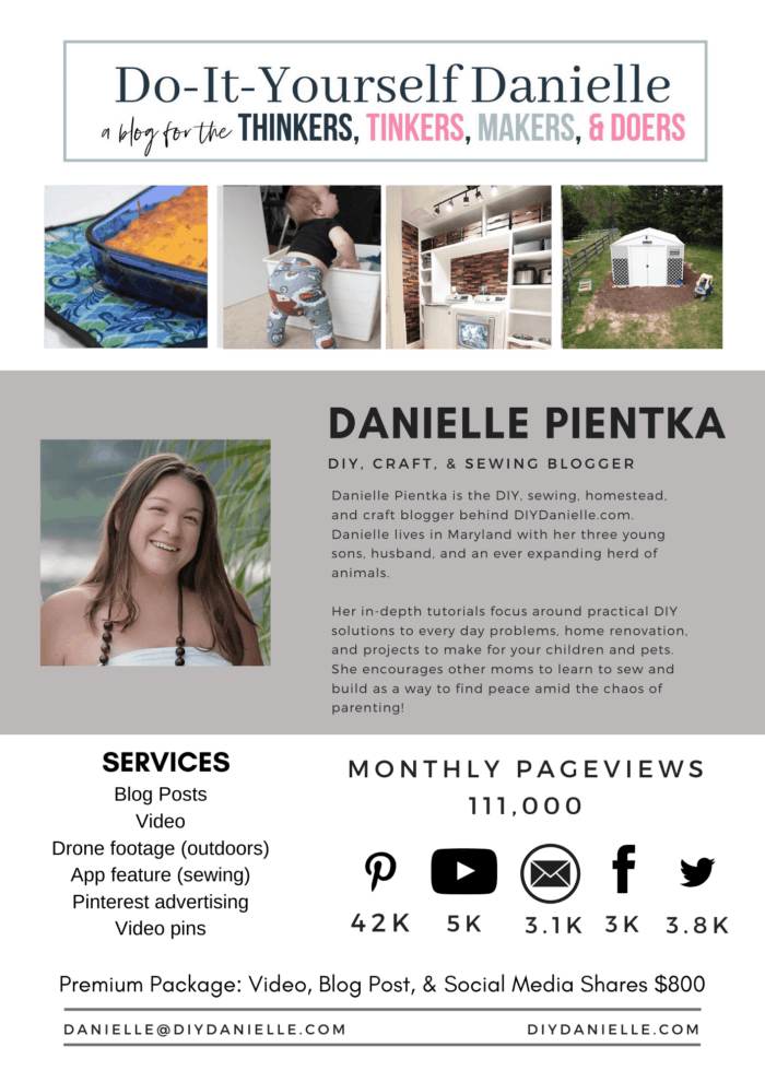 Media Kit for DIYDanielle.com with stats