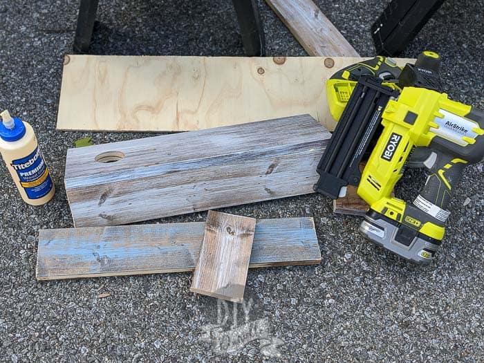 Using my Ryobi Airstrike and Titebond wood glue to put together my wood dispenser.