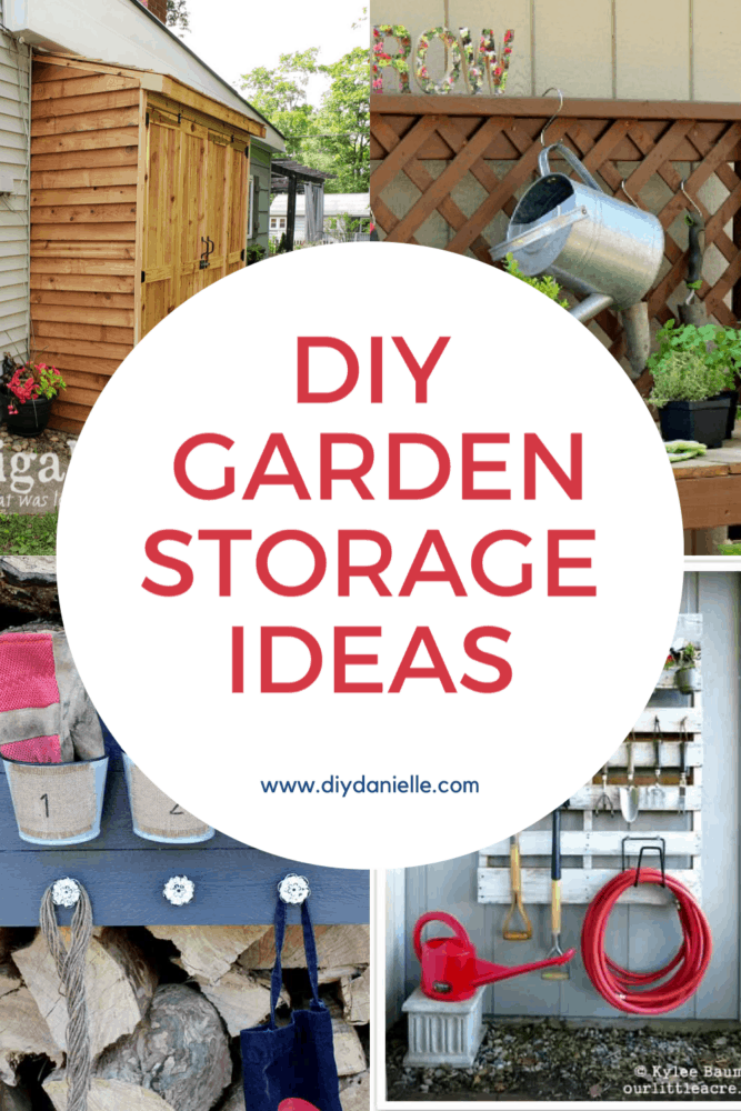 Collage of 4 garden storage ideas