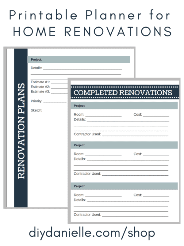 Printable planner for home renovations