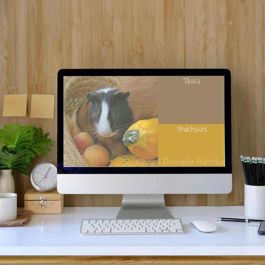 Fall themed background with guinea pigs for PC desktop