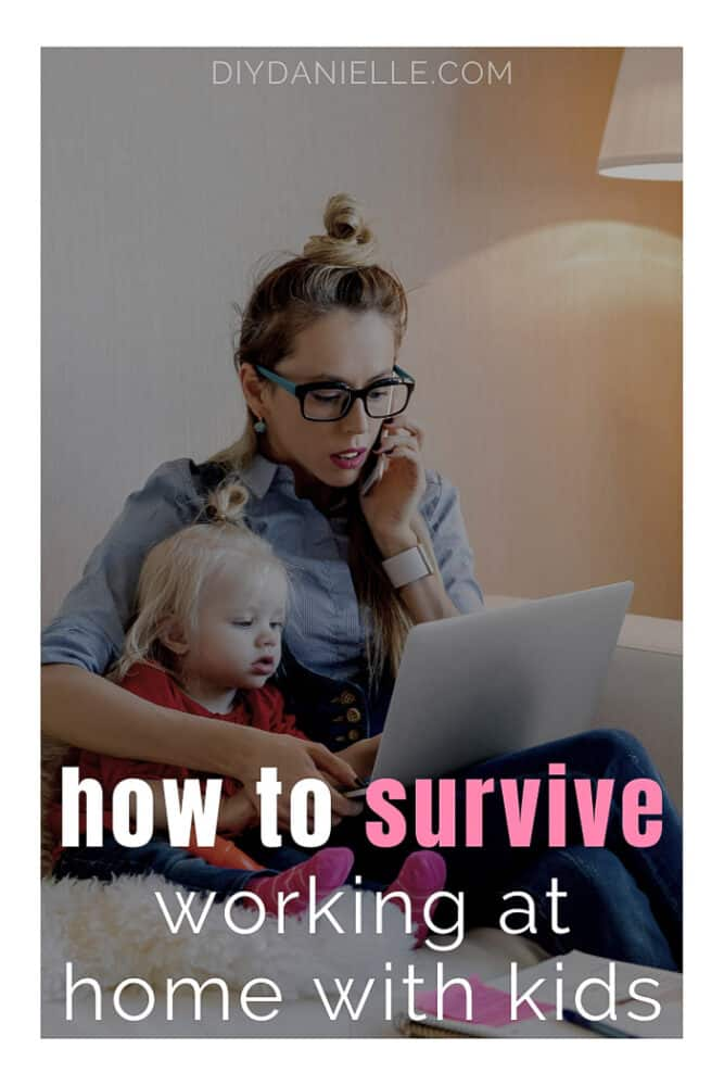 How to survive working from home with kids: Photo of mom on phone and looking at laptop with a little blond toddler on her lap.