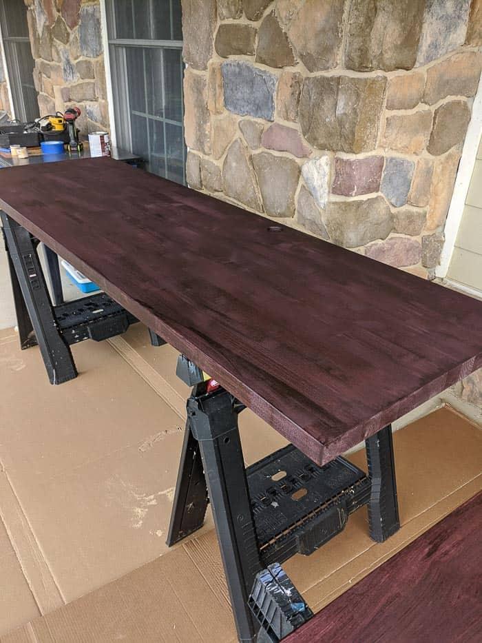 Black cherry butcherblock countertop (birch) before polyurethane was added to it.