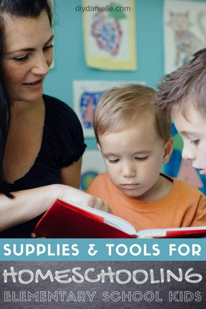 Supplies and tools that come in useful for homeschooling elementary school kids. Photo: Stock photo of a woman reading a book to two boys.