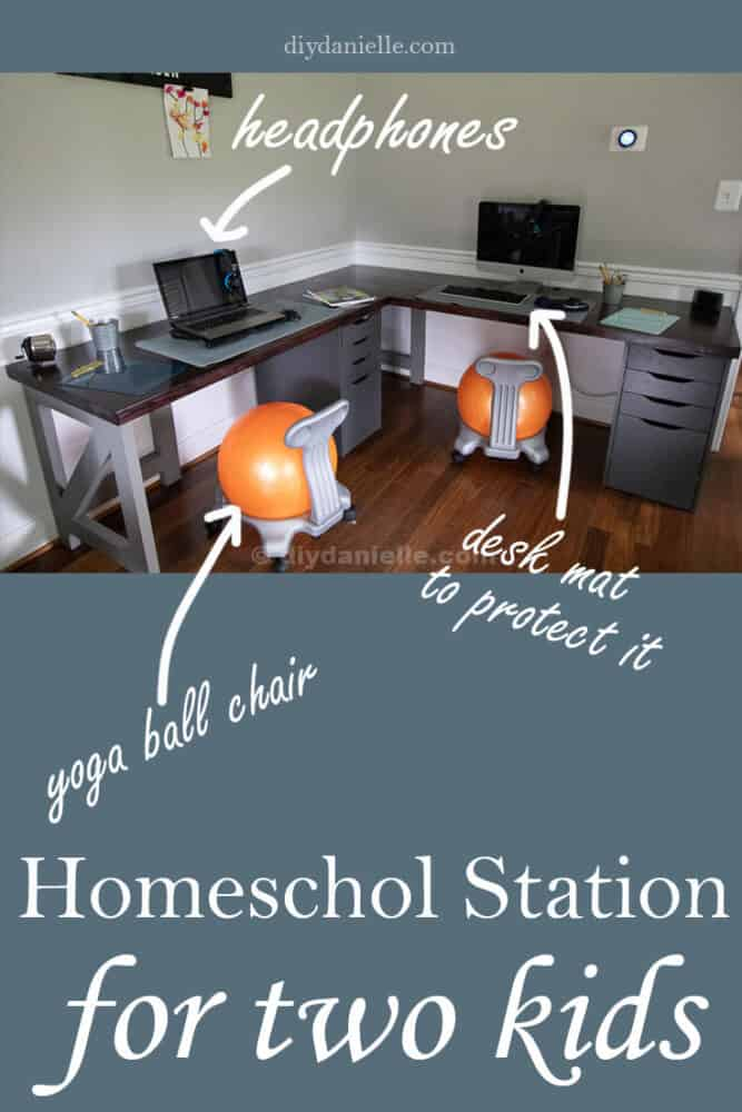 Homeschooling station setup for two kids. There's a desk mat to protect the butcherblock countertops, each child has a drawer to store their things, a yoga ball chair to prevent wiggles, and headphones so they aren't bothering each other. The DIY 2 person corner desk is built with Alex IKEA drawers.