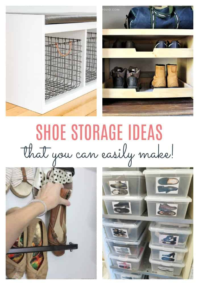 shoe storage ideas collage