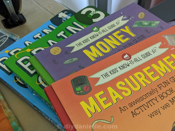 Books for homeschooling: Brain Quest Books for Grade 1 and Grade 3. The Kids' Know It All Guide to Money and Measurements.