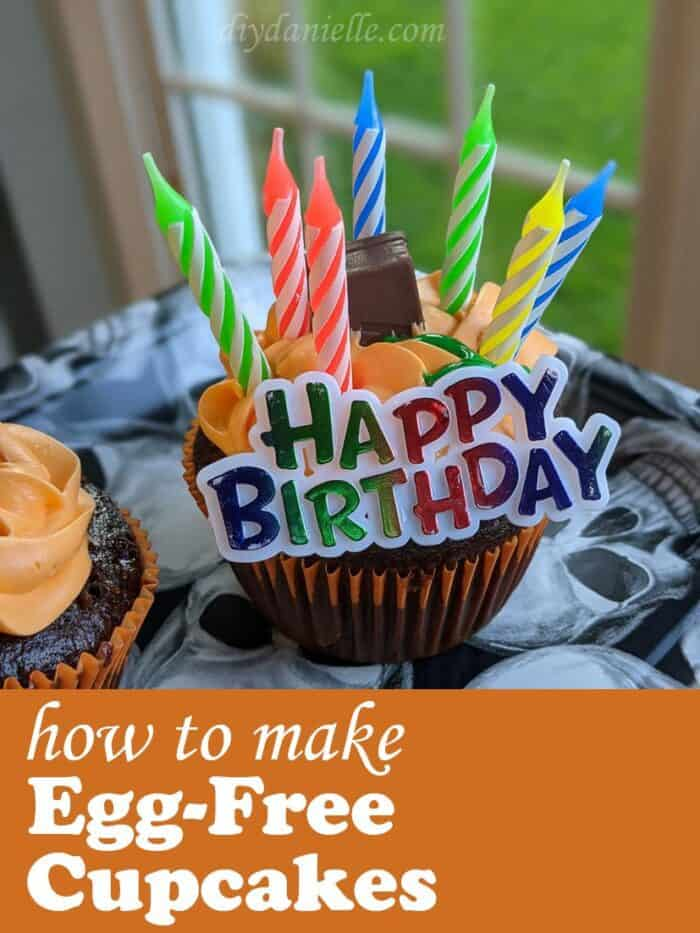 Egg Free chocolate cupcakes recipe for a Fall birthday.