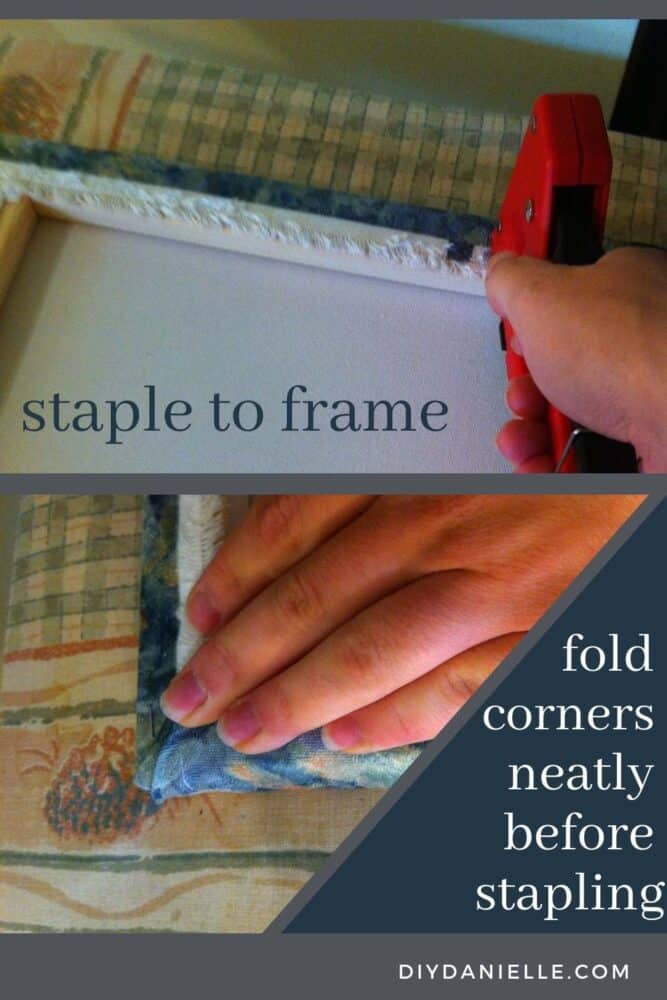 Stapling fabric to the frame of an art canvas.