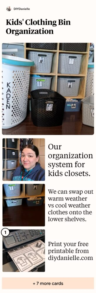 Our organization system for the kids closets. Photos of bins with labels that say shirts, pants, etc.