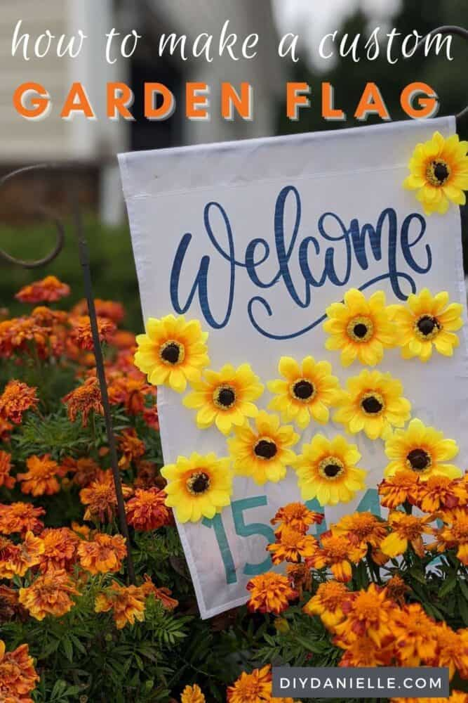 How to make garden flags using Infusible Ink by Cricut. The flowers can come off and be exchanged for different flowers for other seasons. This sunflower flag is for Fall!