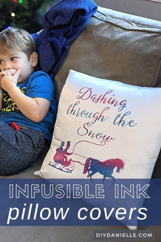 "Easy pillow covers made with Cricut Infusible Ink: White pillow cover with ""Dashing through the Snow"" and a horse with carriage on it."