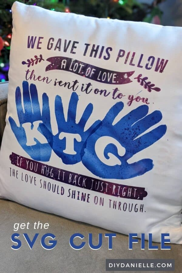 SVG cut file on a pillow case. This is a pillow for grandma or grandpa who lives long distance.